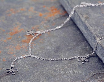 Silver anklets anklets flowers 925 ladies jewelry gift SFK111