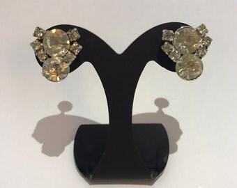 Earrings rhinestone, clasp has screws, vintage 1950 ceremony white rhinestones earrings