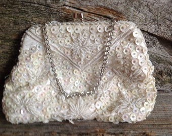 Vintage White Beaded Sequin Convertible Evening Bag/Clutch/Wedding/Bridal/Gift/Retro/