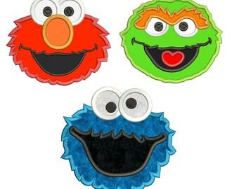 Elmo Cookie Monster Oscar Sesame Street Applique Design 3 sizes instant download