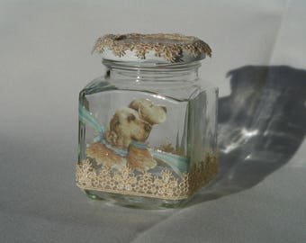Decorated glass jar