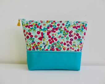TURQUOISE makeup pink faux leather and liberty of London pink and yellow fruit