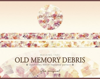 Watercolor Masking Tape, Japanese Washi Tape, Old Memory Debris, Romantic, Stationery, 10M