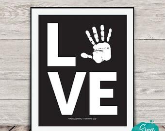 Personalized handprint art | Love handprint printable | Mother's Day gift under 10 | Grandparent gift | Nursery art | 8x10 print