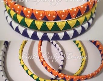 headbands, woven headbands, girl headbands, adult headbands, sports headbands, you choose colors, ribbon Headband, custom headband