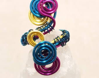 Multicoloured ring; Wirework ring; Wire wrap ring; Purple ring; Turquoise ring