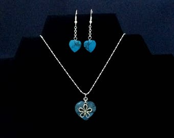 Love Heart Necklace  with Bonus matching Earrings - Turquoise - 7/8 inch heart, 18 inch chain