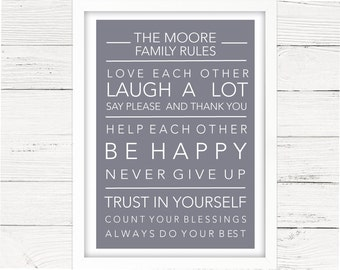 Family Rules Personalised Print - Customised Family Name - House Rules - Home Decor - Wall Art - Family gift - Mothers day