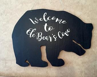 Customized Black Bear Welcome Door Hanger