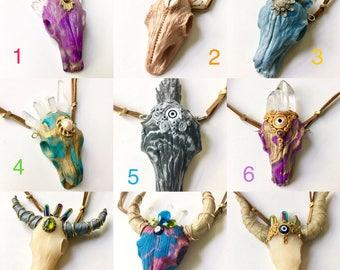 Unicorn skull necklace, unicorn necklace, unicorn pendant, skull necklace, skull pendant, longhorn skull, longhorn necklace, longhorn