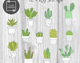 12 Watercolor Succulent Elements Cactus Clipart Cacti Clipart Digital Plants Elements Cute Succulent graphics Floral clipart Garden clipart
