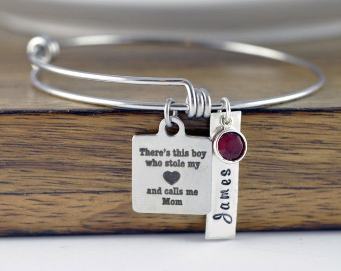 There's this boy who stole my heart he calls me mom bracelet / Mother and Son Bracelet, Mothers Jewelry, Mothers Day Gift, Mothers Bracelet