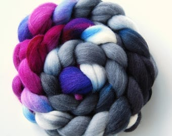 Hand dyed POLWARTH roving, spinning fibre felting fibre, 100g / 3.5oz