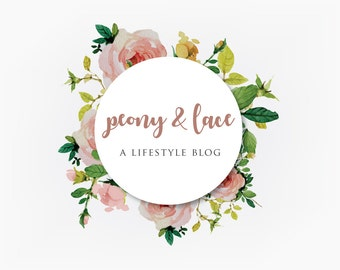Premade Logo Design Graphic Design Branding Blog Design Etsy Shop Logo Floral Peony Rose Watercolor Circle Pink Script Business Logo