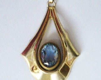 Art Nouveau Aquamarine Pendant 10k Gold Plated. Synthetic Gem. Kordes and Lichtenfels, Pforzheim, Germany. Jugendstil K&L Amerikaner Gold.