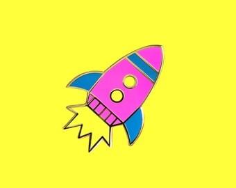 Neon Rocket Ship Pin / Hard Enamel Pin / Cloisonne Pin / Lapel Pin / Gold Metal / Pink Rocket Ship / Space / Space Ship / Spaceship