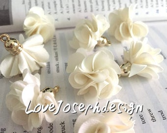 Set of 20 or 50pieces Cream delicately layered chiffon fabric flower gold caps tassel --for length 30mm