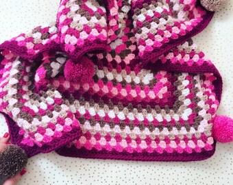 Baby blanket crochet blanket pink Granny squares