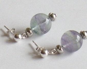 Ear jewelry Purple Purple earrings gemstone earrings fluorite Silver gift Lady of your heart