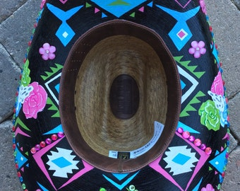 Custom hand painted cowboy or cowgirl hats