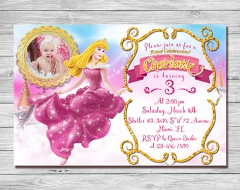 Sleeping Beauty Invitation, Sleeping Beauty Birthday Invitation, Princess Aurora Invitation, Princess Aurora Thank You Card | MAAU_4