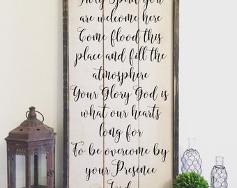 Holy Spirit you are welcome here, vintage wood sign