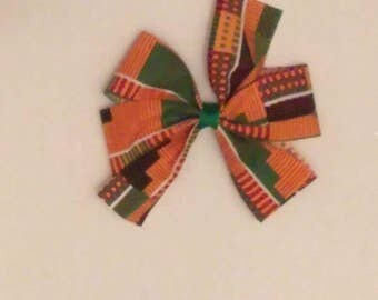 Kente' ribbon hair bow, African print hair bow, Ethnic print hair bow, Kente print hair bow