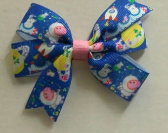 Peppa pig inspired hair bow, Character hair bow, piggy bow set, girls pig tail bows, toddler hair bow, blue hair bow, space hair bow