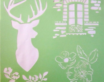 Stencil reusable-Theme: deer, window, flowers