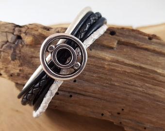 Black White Leather Bracelet