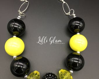 Pittsburgh Pirates, Steelers or Penguins Girls or Women's Chunky Necklace, Black and Gold Yellow Chunky Necklace, Women's Statement Necklace