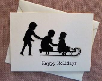 Children Playing Christmas Card, Christmas card set, Children Holiday Card, Handmade Christmas Card