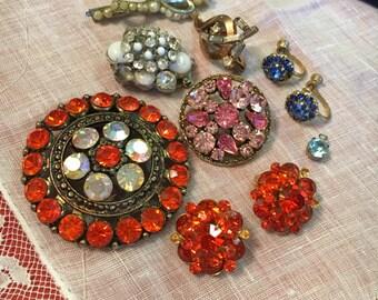 Lot of Vintage Repurpose Brooches/ Earrings / Pins