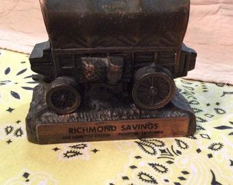 Vintage Bronze Covered Wagon Bank, Richmond S & L Bank/