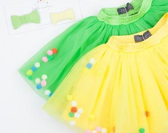 Green,Yellow,Tutu Skirt,Baby Girl Tutu Skirt,pom-poms,Tutu,First Birthday Tutu,Fluffy Tutu Skirt,Blush Skirt,Pettiskirt,Taffeta,Ballet skirt