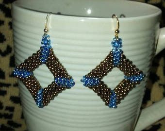 Peyote Brown and Blue 3D Square Dangle Earrings