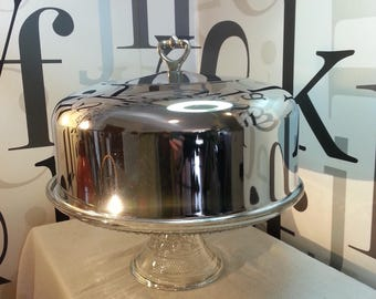 Vintage Crystal Cake Stand with Chrome Lid  FREE SHIPPING