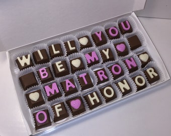 Will you be my Matron of Honor Chocolates Gift Box, White Chocolate, Milk Chocolate, Men Gift, Women Gift, Customize for your Occasion