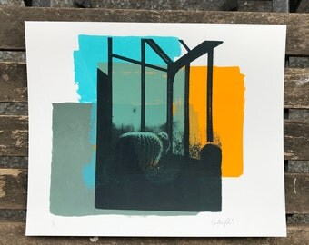 Sunlit Cactus limited edition one off silkscreen print