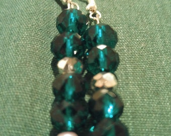SALE!!! Green and Silver Dangle