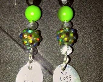 SALE!!To Love and To Cherish festive Green bead dangle