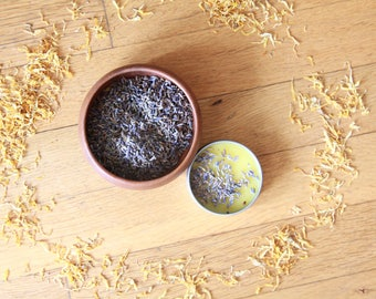 Lavender and Calendula Salve-for Dry Skin-Pomegranate Oil-Persephone Balm to Save Skin from Underworld-Healing Lavender