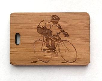Cycling Keyring, Personalised Keyring, Cyclist Gift, Cycling Gift, Engraved Keyring, Gift for Dad, Wooden Gift, Wooden Keyring