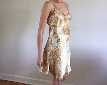 Leopard 100% Silk Charmeuse Slip Dress Bias Cut w/ Low Back
