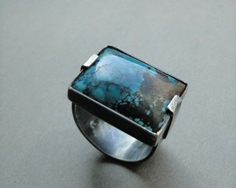 Sterling silver turquoise ring, huge statemenet ring, avant garde silver ring