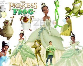 60 Disney Princess,  Tiana & The Frog Clipart,  Digital Clipart, Instant Download 300DPI - Printable Iron On Transfer or Use as Clip Art