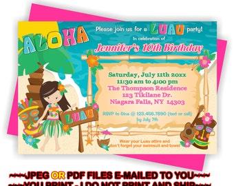 Luau Party Invite, Girl Luau Party, Invitation, Luau Birthday Invite, Luau Invitation, Summer Birthday, Girl Luau Invite -  BIRINV65