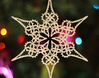 Treetop Pattern PDF, tatting pattern, tatted snowflake, Christmas tatting, beaded tatting, tatting points, lace, snowflake