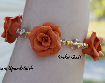 Orange Rose Bracelet, Free Shipping