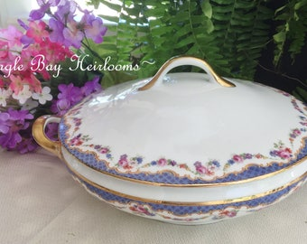 Covered Vegetable Bowl -Fraureuth Germany Porcelain - Pink & Blue Rose Swag Garlands - Pattern #22595